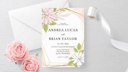 Blush Gold Floral Wedding Invitation Template