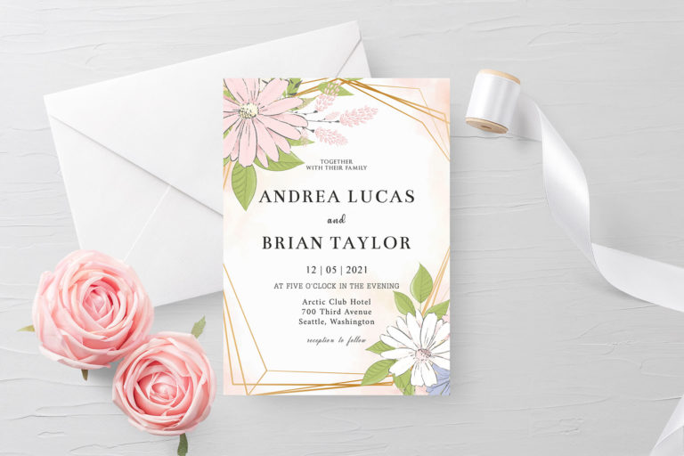 Preview image of Blush Gold Floral Wedding Invitation Template