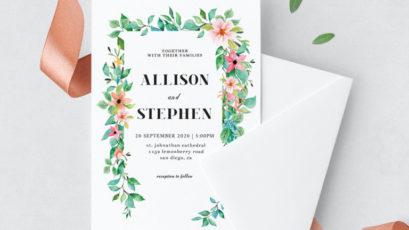 Foliage Wedding Invitation Template