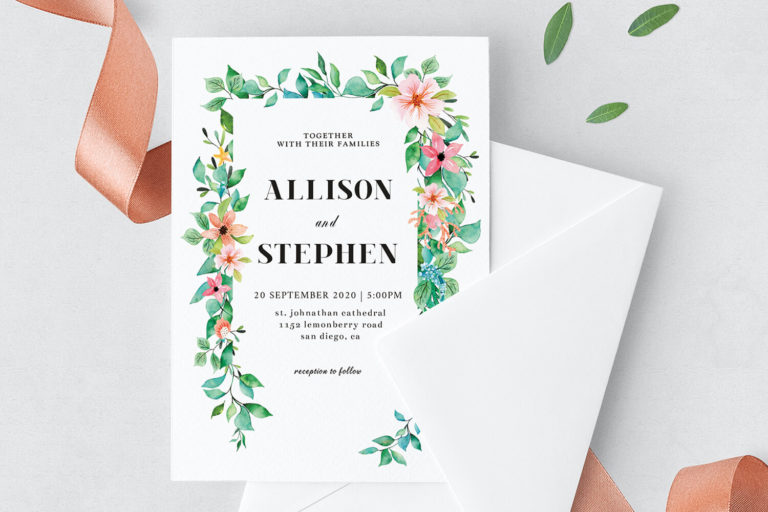 Preview image of Foliage Wedding Invitation Template