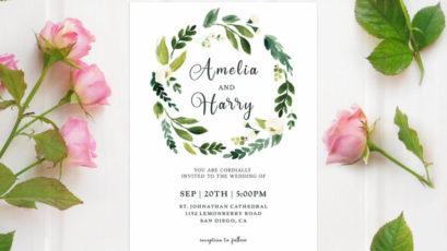 Greenery Floral Wedding Invitation Template
