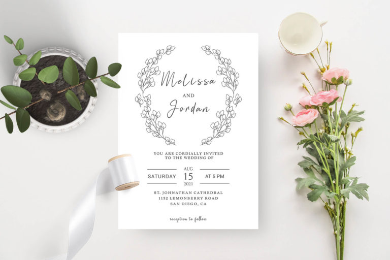Preview image of BW Laurel Wedding Invitation Template