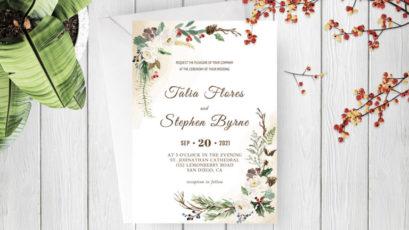 Green Botanical Wreath Wedding Invitation Template