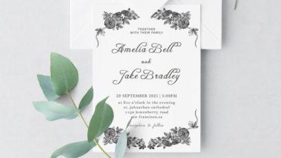 Monochrome Wedding Invitation Template