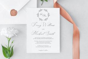 Floral Wreath Wedding Invitation Template