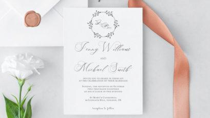 Floral Wreath Wedding Invitation Template