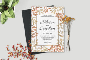 Autumn Wreath Wedding Invitation Template