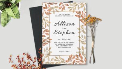 Autumn Wreath Wedding Invitation Template