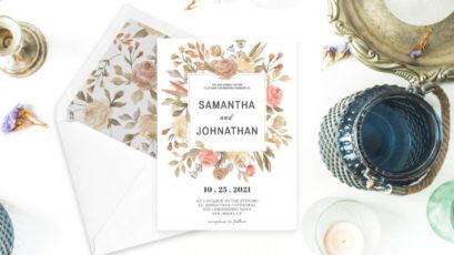 Dusty Rose Wedding Invitation Template