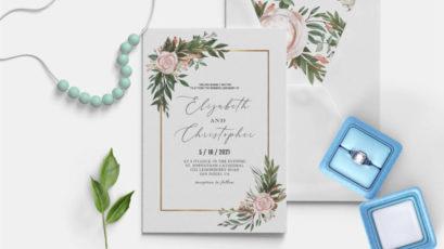 Blush Green Wedding Invitation Template