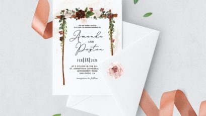 Burgundy Floral Arch Wedding Invitation