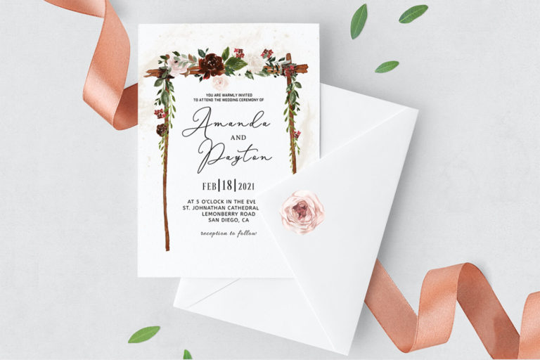 Preview image of Burgundy Floral Arch Wedding Invitation