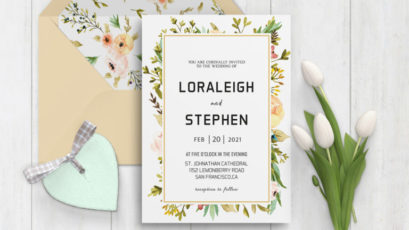 Beautiful Wreath Wedding Invitation Template