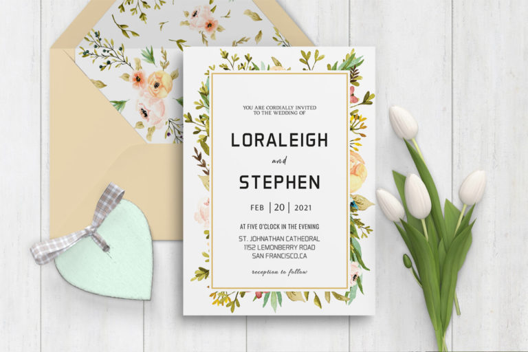 Preview image of Beautiful Wreath Wedding Invitation Template