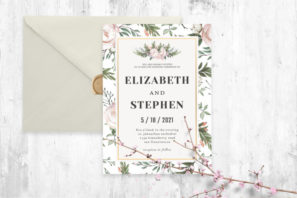 Rustic Floral Wedding Invitation Template