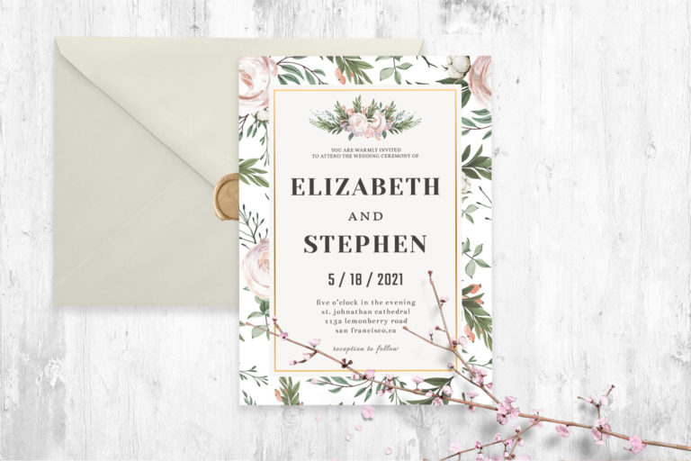 Preview image of Rustic Floral Wedding Invitation Template