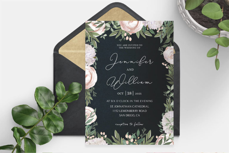 Preview image of Elegant Floral Wedding Invitation Template