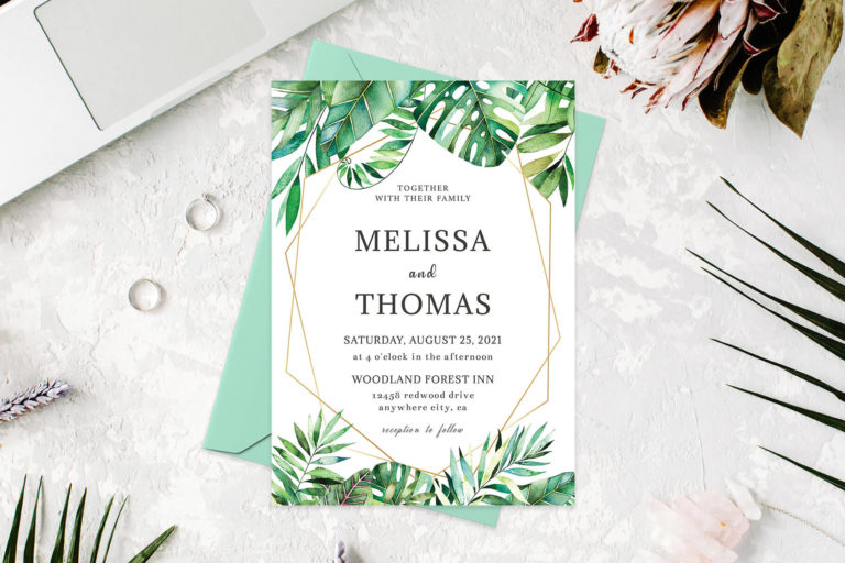 Preview image of Tropical Palm Casual Wedding Invitation Template