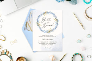 Blue Floral Watercolor Wedding Invitation Template