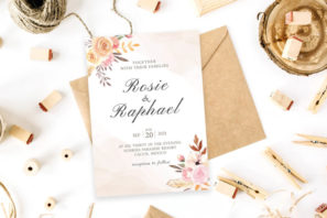 Blush Watercolor Wedding Invitation Template