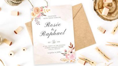 Blush Watercolor Wedding Invitation Template