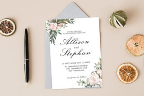 Dusty Rose Floral Wedding Invitation Template V2
