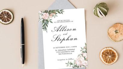 Dusty Rose Floral Wedding Invitation Template V2