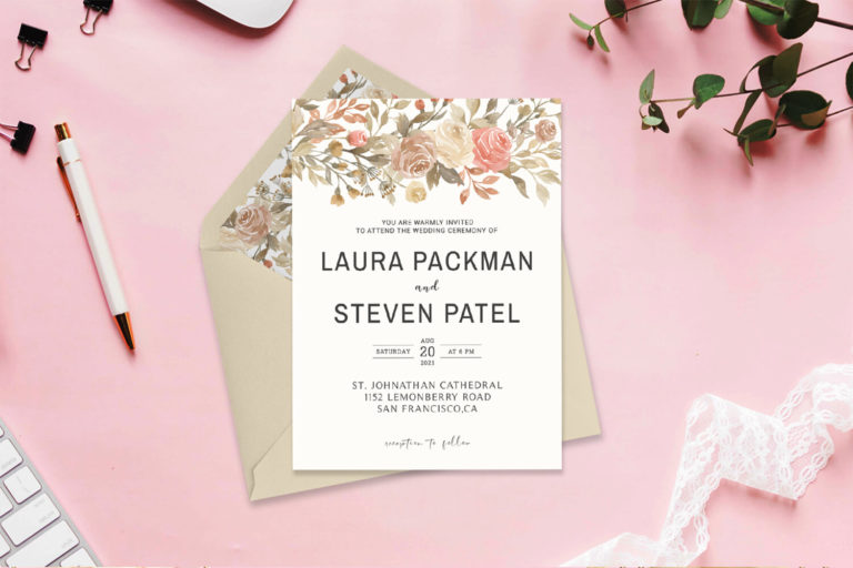 Preview image of Dusty Rose Wedding Invitation Template V2