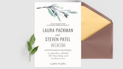 Green Leaves Wedding Invitation Template