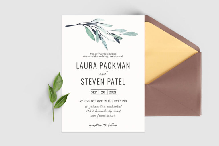 Preview image of Green Leaves Wedding Invitation Template