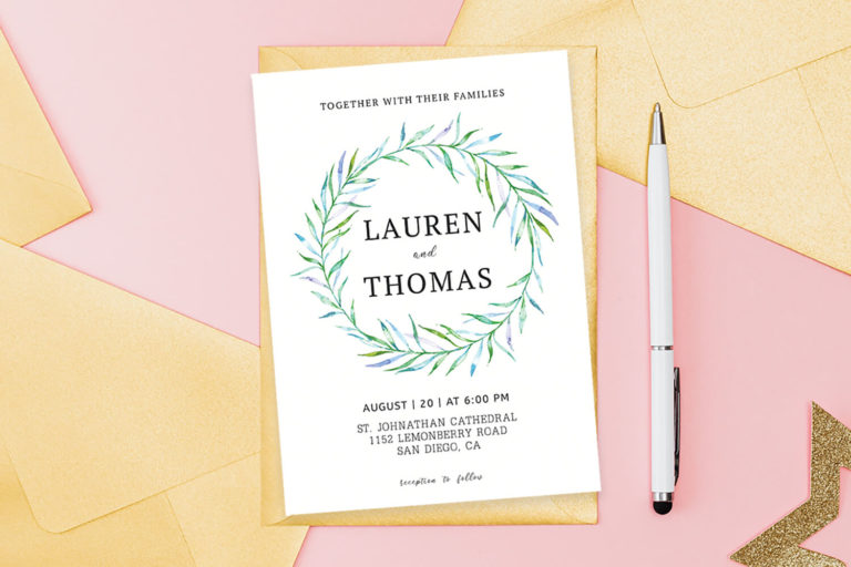Preview image of Simple Floral Wedding Invitation Template
