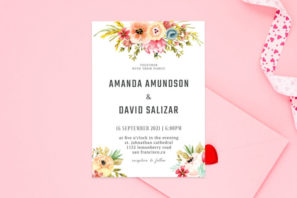 Watercolor Floral Wedding Invitation Template V2