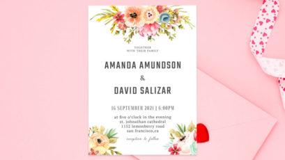 Watercolor Floral Wedding Invitation Template V2