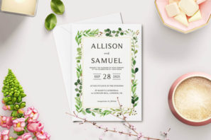 Green Leaves Wedding Invitation Template V2