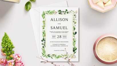 Green Leaves Wedding Invitation Template V2