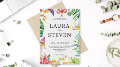 Whimsical Watercolor Wedding Invitation Template
