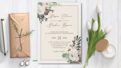 Wild Flowers Wedding Invitation Template