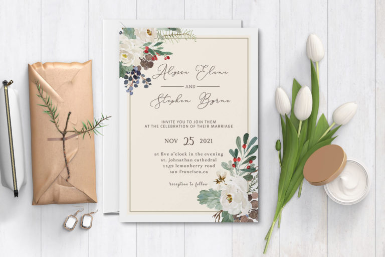 Preview image of Wild Flowers Wedding Invitation Template