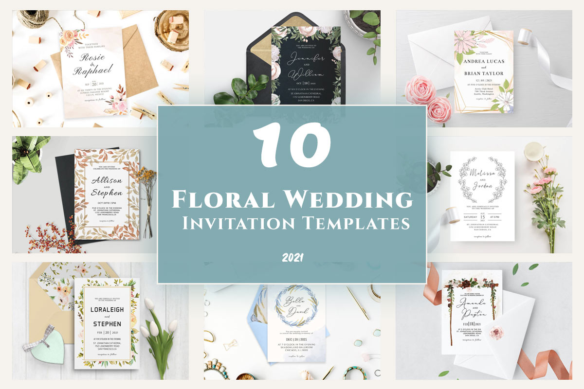 10 Floral Wedding Invitation Templates