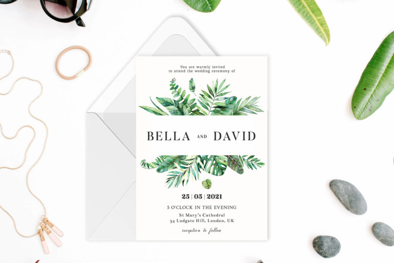Preview image of Botanical Watercolor Greenery Wedding Invitation