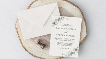 Elegant Eucalyptus Wedding Invitation Template