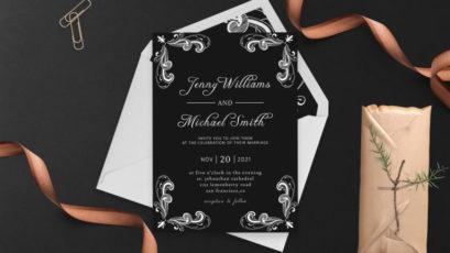 Floral Swirls Wedding Invitation Template