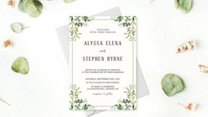 Greenery Rustic Wedding Invitation Template