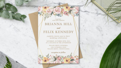 Rose Pink and Gold Floral Greenery Wedding Invitation