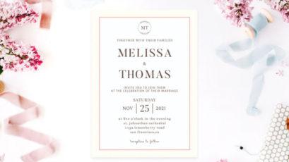 Simple Minimal Wedding Invitation Template