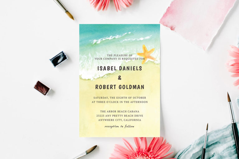 Preview image of Beach Waves Sand Wedding Invitation Template