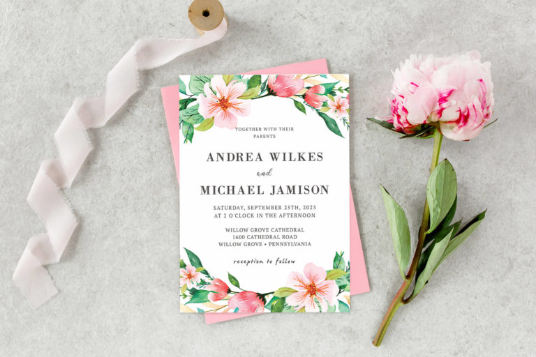 Preview image of Blush Pink Floral Wedding Invitation