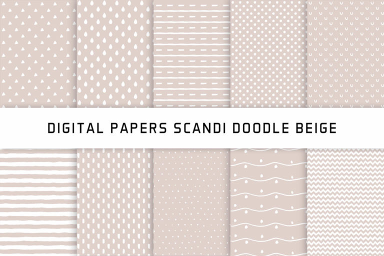 Preview image of Scandi Doodle Beige Digital Papers Hand drawn Patterns