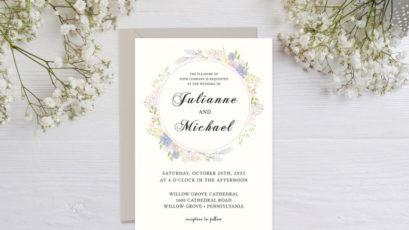 Elegant Blush Floral Greenery Wedding Invitation