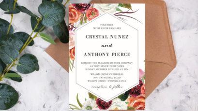 Elegant Red Floral Frame Wedding Invitation
